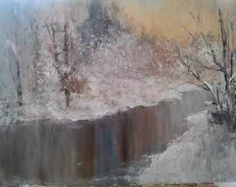 Original landscape oil painting 50x70 sm
