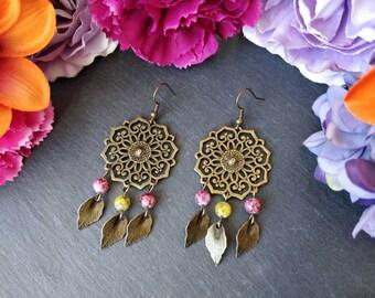 Pink, Yellow & Bronze Hippie Boho Earrings. Mandala Dream Catcher. Boho Jewelry. Handmade Earrings. Mandala Earrings. Statement Earrings.