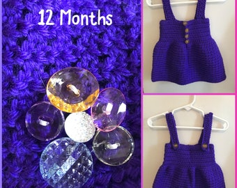 Size 12 Months Purple Dress with Adjustable Straps and Flower Button Embellishments
