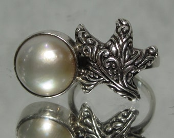 Vintage Sterling Silver Starfish Pearl Ring Sz 8 M227