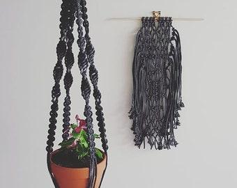 Handled Black Denim Pot Hanger (only)