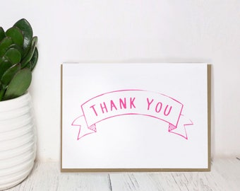 Thank You Card -  Screen Printed Illustration - Hand Made