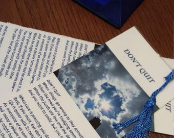 """Inspirational  Laminated Bookmark  """"Dont Quit""""   Ideal Gifts"""