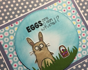 Eggs Come From Where!? - Bunny Easter Card made with Taylored Expressions Stamps