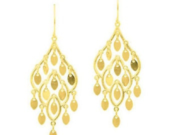 10k Yellow Gold Fancy Chandelier Drop Earring with French Wire Clasp