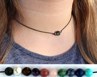 HEALING CRYSTAL CHOKER: Healing Crystal Necklace, Turquoise Choker, Amethyst Choker, Rose Quartz Choker, Crystal Chokers, Healing Crystals