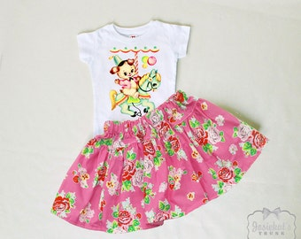 Girl Carousel Skirt - Retro Pink Floral Skirt Set - Rose Strawberry Skirt - Puppy Party Outfit - 6/12 month to 12 - Vintage Puppy Party