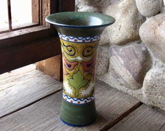 Gouda Pottery Vase, Beek Design, Antique European Art Pottery, Circa 1929, Hand Painted Multi-Colored