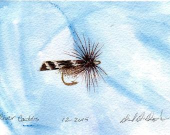 Art de pêche à la mouche - Original Art - aquarelle - Caddis - mouche sèche - Made in Michigan - Michigan artiste - Fly Fishing - cadre noir