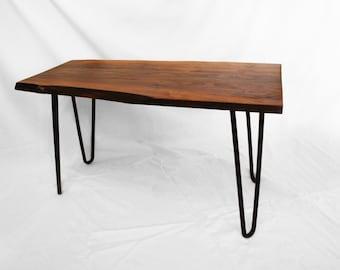 Custom Live Edge Walnut Table with Hairpin Legs