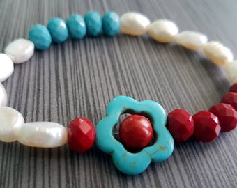 White Freshwater Pearls, Turquoise Magnesite and Red Colored Crystal Rondelle Stretch Bracelet