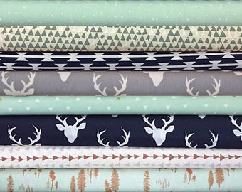 Navy Boy Fabric Bundle, Woodland, Mint, Gray, Grey, Tan, Brown, Buck, Forest, Fabrics, Modern, Rustic, In, Half, Yards, FREE, SHIP, to, US