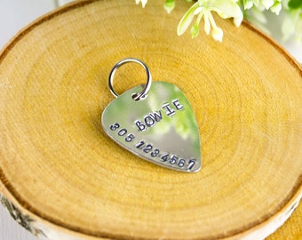 Hand-stamped Guitar Pick Dog Tag // Dog Identification Tag // Hand-stamped Custom Pet I.D