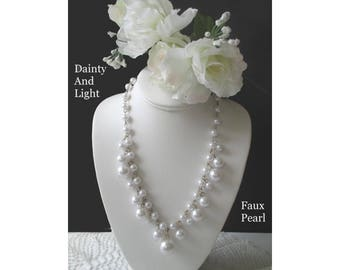 Faux Pearl Necklace * Dangle Necklace * Dainty Faux Pearl Necklace * Classic Vintage