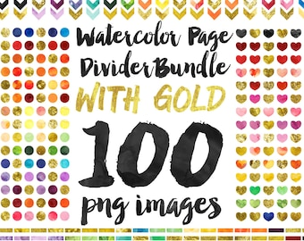 Watercolor and Gold Page Divider Clipart Value Bundle, Instant Download, Commercial Use