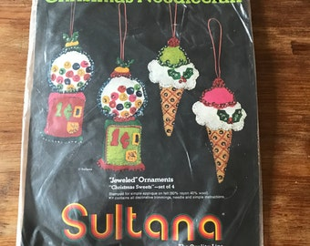 """1960s ornament kit (""""Christmas Sweets"""" by Sultana- set of 4)"""
