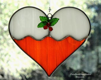 Stained Glass Christmas Cookie Suncatcher, Frosted Sugar Cookie w Holly Berries, Orange Heart Shaped Sun Catcher, Glass Christmas Ornament