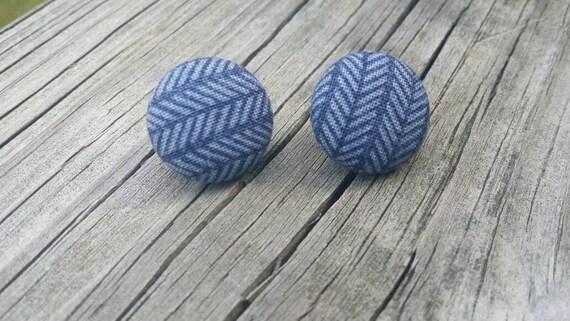 Button Earrings, Chevron earrings, Costume Jewelry, Fabric Earrings, Round Earrings, Nickel Free Earrings, Stripe Earrings, Blue earrings