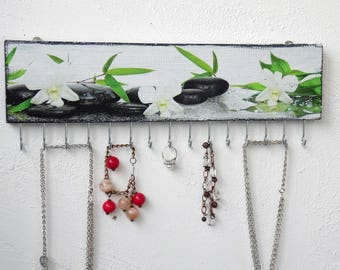 Wooden Jewelry holder wall, white, green, black, wall Jewelry storage, Jewelry organize, Jewelry Hanger, Necklace holder for wall