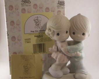 "Precious Moments ""Hug One Another"" Porcelain Figurine Enesco - Vintage Collectible Figurine - Boy and Girl Hugging - 1990 - Retired"