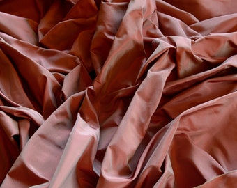 "Mauve/Red Iridescent Silk Taffeta 100% Silk Fabric, 54"" Wide, By The Yard (TS-7045)"