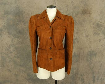 vintage 30s 40s Leather Jacket - 1940s Womens Leather Coat Suede Sport Jacket XS S