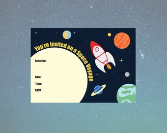 Printable Space Voyage A6 Invitation - Rocket Collection - 105x148mm - PDF INSTANT DOWNLOAD