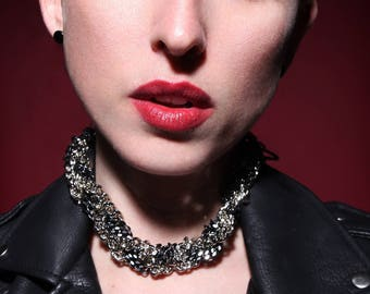 Statement Chain Choker Collar - Chunky Choker Sparkle Necklace - Cyberpunk - Futuristic - Gothic - Gossip Girl - Mothers Day Gift