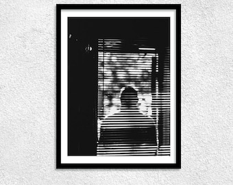 Human Countour Print, Street photography, Human Shadow, Original Photo, Black And White Wall Art, Humans, City life, Window, Dark Shadow