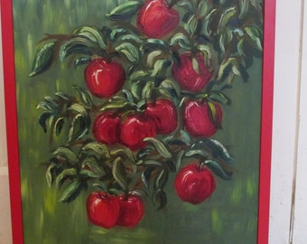 Delicious Red Apples! Oil painting.