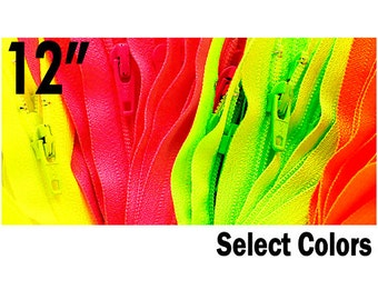 12 inch YKK Zipper - Neon Colors Number 3 Nylon Coil Closed Bottom - Select Your own Color (with each color you will get 10 YKK zippers)