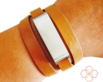 Fitbit Bracelet for Fitbit Flex Fitness Trackers - The KATE Brushed Silver and Tan Genuine Leather Wrap Buckle Fitbit Bracelet - Ships Free