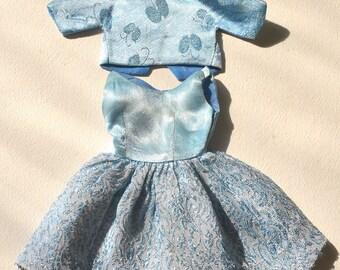 "Vintage 1960s IDEAL Toys Fashion Doll TAMMY Misty 1963 Outfit ""Dreamboat"" Blue Brocade Party Dress and Satin Bolero Jacket EUC #9153-8 Japan"