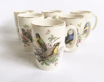 Set of 6 Vintage Lord Nelson Pottery Mugs with Wild Bird Illustrations - Made in England