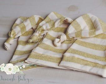 Newborn Boy Sleepy Hat, Newborn Hat, Photography Props, Newborn Boy Props Outfit, Newborn Knot Hat, Long Tail Hat, Gold Hat, Winter Props