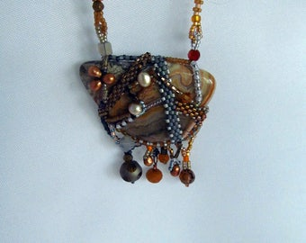 Crazy Lace Agate Free Form Peyote Pendant