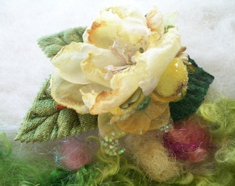 Flower Hair Clip Light Yellow Fabric Flower Green Velveteen Leaves Hair Accessory Small Flower Hair Clip Handmade Dainty Fairytale Clip