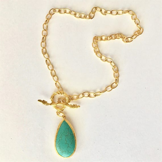 "Turquoise Pendant Necklace, Oval Link Texture Chain , Toggle Texture Clasp, 22K Gold Plated Chain, 24K Gold Plated Clasp, 21"" Long"
