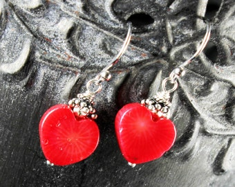 Red Bamboo Coral Earrings, Sterling Silver earrings, red heart earrings, red gemstone, dangle earrings, gift for her, Valentine gift, 2630