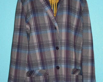"1970s ""Donovan Galvani"" Ladies Plus Size Plaid Double Knit Polyester Blazer — Modern Size XL"