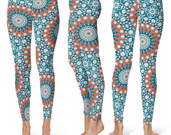 Orange and Blue Leggings Yoga Pants, Printed Yoga Tights for Women, Funky Mandala Pattern