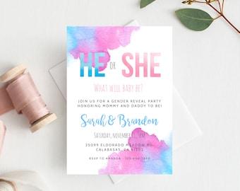 Gender Reveal Invitation Template, Blue or Pink Gender Reveal, He or She Invite, Instant Download Gender Reveal Invitations, Templett