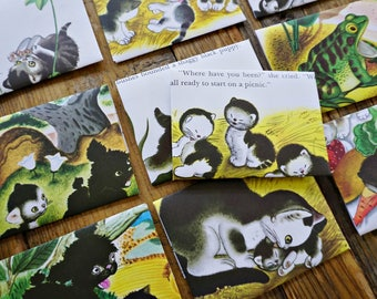 Baby Kittens - recycled book pages into envelopes - Fun Size - small