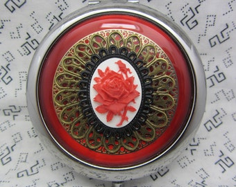 Compact Mirror Red Rose on White Comes With Protective Pouch