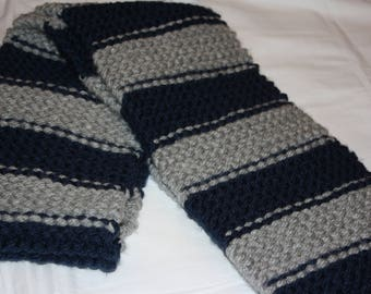 Navy and Gray Striped Scarf