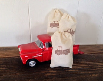 Truck Muslin Favor Bag Baby Boy Shower Muslin Bag Birthday Party Favor Gift Bag Vintage Rustic Baby Gift Bag