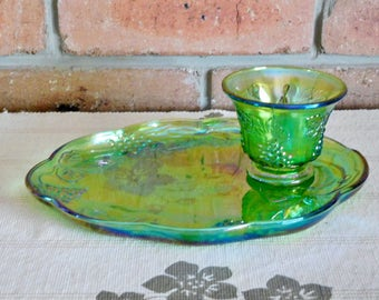 Fenton 1970s iridescent lustre green carnival glass Imperial glass tennis set, high tea, collectable