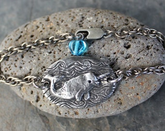 Narwhal Love Bracelet - Antiqued silver pewter unicorn of the ocean charm - twisted rope chain, aqua blue glass heart - free shipping USA