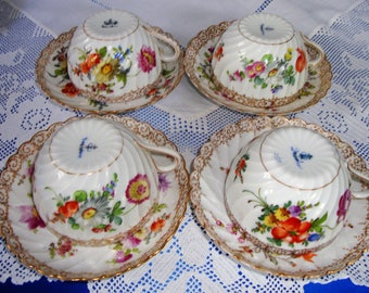 Antique Dresden Hand Painted Cups And Saucers x 4