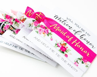Will You Be My Maid of Honor Hair Tie Gift | Hot Pink Black White + Gold Floral Hair Tie Bridesmaid Gift, Modern Bridesmaid Proposal Card